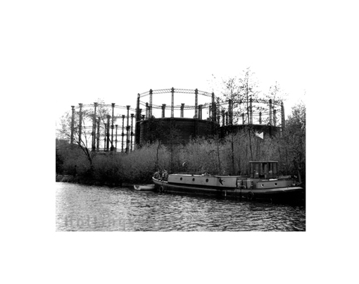 April 1994 Gas Towers from Regent's Canal, Cmden